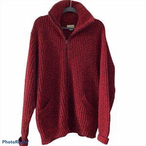 Vtg LL Bean ZIP Up wool blend cardigan sweater XL